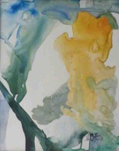 Emerald Way, Watercolor and Collage on Yupo by Rita Rose Apter and Rae Rose Cohen (March 2012)