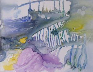 Not the Shark Tank, Watercolor on Yupo by Rita Rose Apter and Rae Rose Cohen (April 2012)