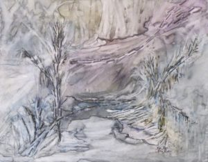 Smoldering Forest, Mixed Media on Yupo by Rita Rose Apter and Rae Rose Cohen (June 2012)