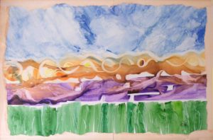 Natures Elements II, Watercolor on Yupo by Rita Rose Apter and Rae Rose Cohen (October 2012)