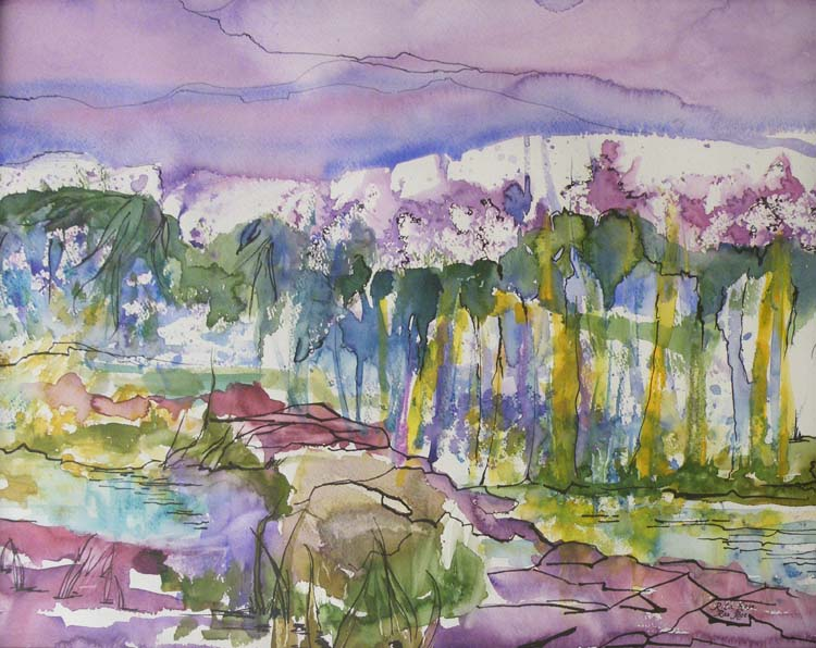 HONORABLE MENTION: South Brook, Watercolor by Rita Rose Apter and Rae Rose Cohen (September 2012)