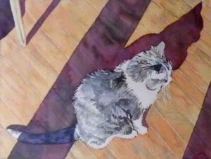 Enjoying the Morning Sun, Watercolor by Sally Rhone-Kubarek (March 2012)