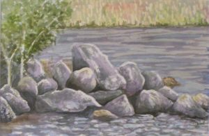 Like a Rock, Watercolor by Sandy Staley (June 2012)