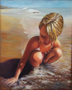 Sifting Sand, Oil by Ina Moss, Size 20in x 16in (July 2017)