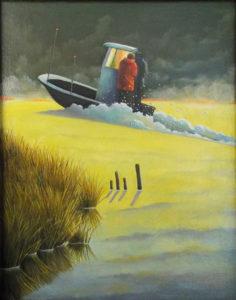 The Riverman, Oil by Carol Wollstein, Size 14in x 11in (July 2017)
