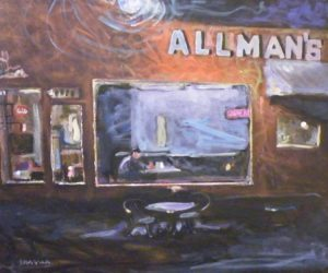 Allman's at Night, Oil by Tom Smagala (June 2012)