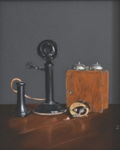 THIRD PLACE: Dads Phone and Reel, Oil on Hardboard by Victoria Warrington (July 2012)