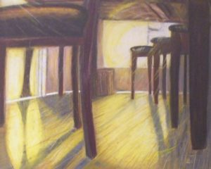 HONORABLE MENTION: Dog in the Kitchen, Oil Pastel by Guerin Wolf (June 2012)