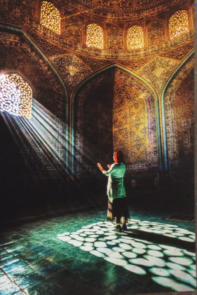 HONORABLE MENTION: Worshiper of the Light, Photography on Metal by Saeed Ordoubadi,  Size 30in x 20in (July 2017)