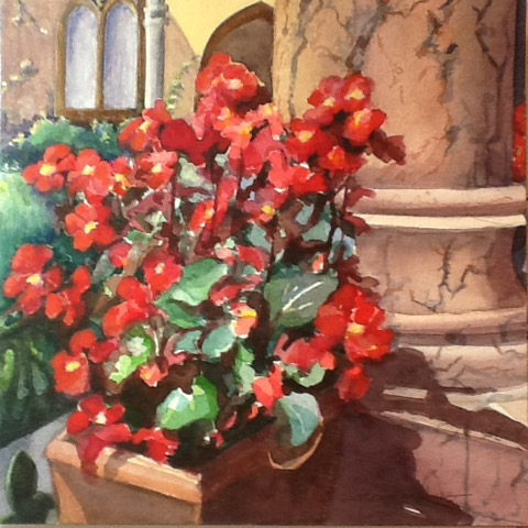 Bascilica Begonias, watercolor by Mary B. Allen, 16x16, $495 (October 2017)