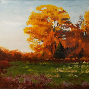 Fall Evening, Oil by Richard F. Wyvill, Size 20in x 20in, $500 (August 2017)