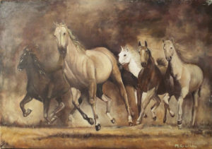Running Horses, Oil on Muslin by Mario Giuliani, Size 16.5in x 23.5in, $500 (August 2017)