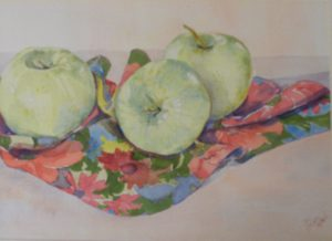Apples, Watercolor by Sally Rhone-Kubarek (December 2012)