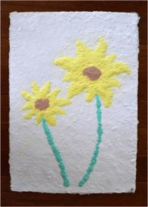 Sunflowers, Handmade Paper, Pulp Painting by Jennifer Galvin, Size 14in x 10in, $125 (August 2017)