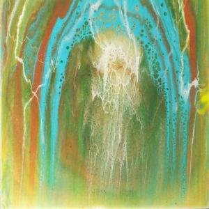 Waterfall, Mixed Media by Darlene Wilkinson, Size 12in x 12in, $325 (August 2017)