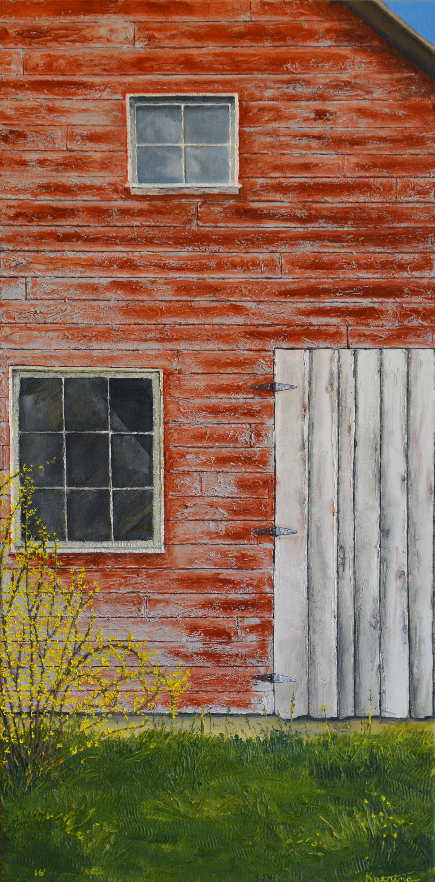 "Red Barn II, oil on canvas by Katrina Ann, 36""x18"", $1,800 (October 2017)"