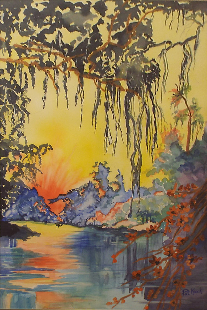 HONORABLE MENTION: Bayou Sunrise, Mixed Media by Pat Knock, Size 21in x 14in, Framed 28in x 22in, Price $300 (September 2017)