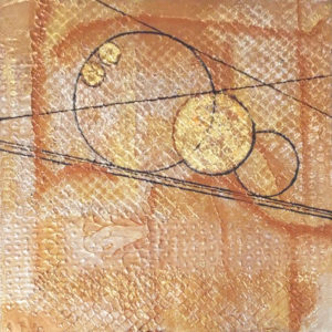 Circles at Sunrise II, Mixed Media by Katharine Owens, Size 14in x 14in, Price $85 (September 2017)