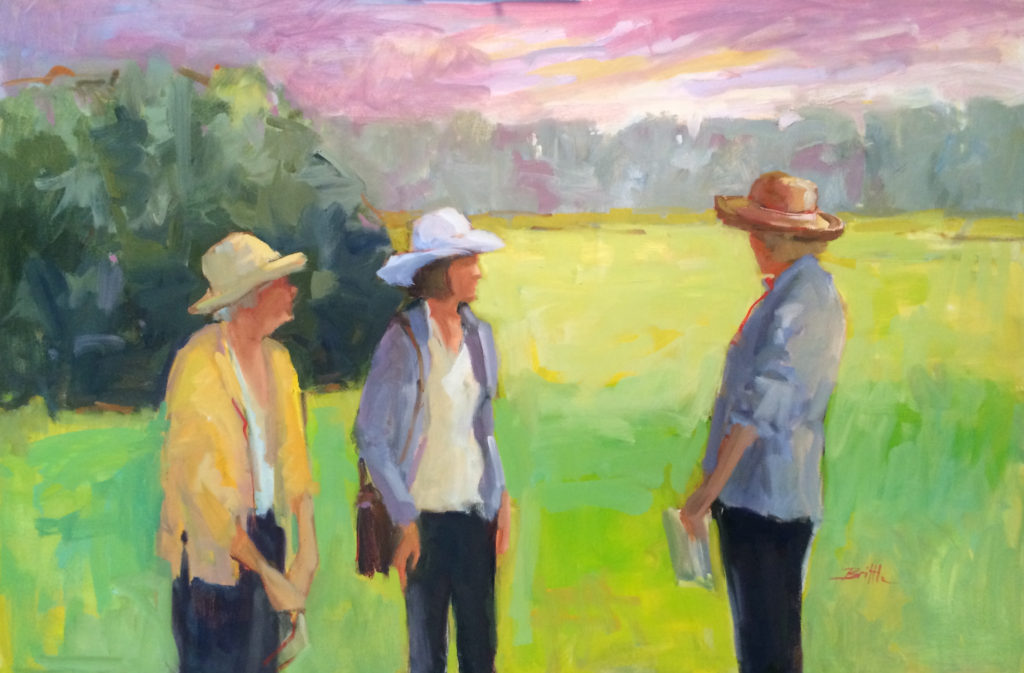 "Family Conference, oil on canvas by Nancy Brittle, 24""x36"", $1,200 (October 2017)"