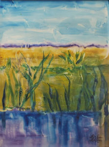 Field in Reflection, Mixed Media by Rita Rose and Rae Rose, Size 23.5in x 17.5in, Framed 27in x 21in, Price $375 (September 2017)