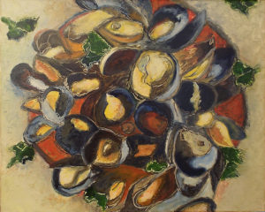 Mussels in Bloom, Oil on Canvas by Toni S. Scott, Size 16in x 20in, Price $500 (September 2017)