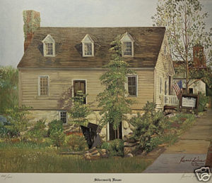 "A Limited Edition reproduction print by renowned artist Bueno Silva of the Historic Silversmith House. Silva created the original oil painting in 1987 to celebrate the 25th anniversary of the Fredericksburg Center for the Creative Arts (FCCA) which has been headquartered in the Silversmith House since 1962.   22 ½"" wide x 19 ½"" high"