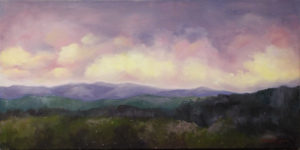 Dawn on the Blue Ridge, Oil on Canvas by Kathleen Willingham, 15in x 30in, $450 (November 2017)