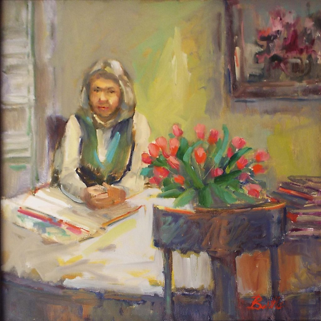 HONORABLE MENTION: Doing Taxes at the Dining Room Table, Oil on Canvas by Nancy Brittle, 20in x 20in, $625 (November 2017)