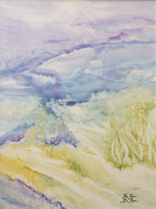 Lavender Sky, Watercolor on YUPO by Rita Rose and Rae Rose, 24in x 18in, $375 (November 2017)