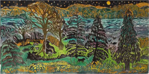 Night by the River, Hand Painted Lino Cut by Linda LaRochelle, 12in x 24in, $395 (November 2017)