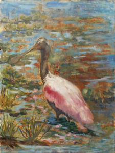 Spoonbill in the Lilies, Oil by Nancy Wing, 24in x 18in, $300 (November 2017)