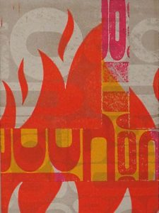 Bacchanal Pyre, Letterpress Monoprint by Pete Morelewicz (Dec. 2017-Jan.2018)