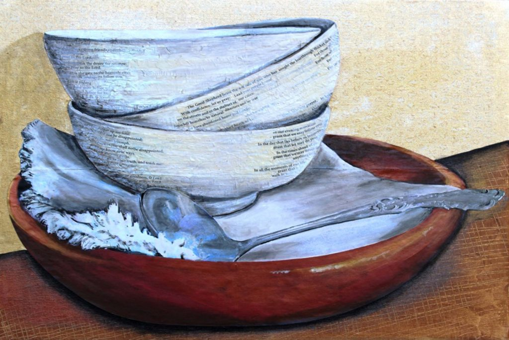 HONORABLE MENTION: Bowls of Mercy, Mixed Media by Georgeann DeMille, 11in x 16in, $350 (Dec. 2017-Jan.2018)