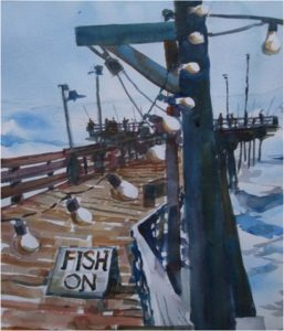 Fish On, Watercolor by Marcia Chaves, 14in x 12in, $225 (Dec. 2017-Jan.2018)