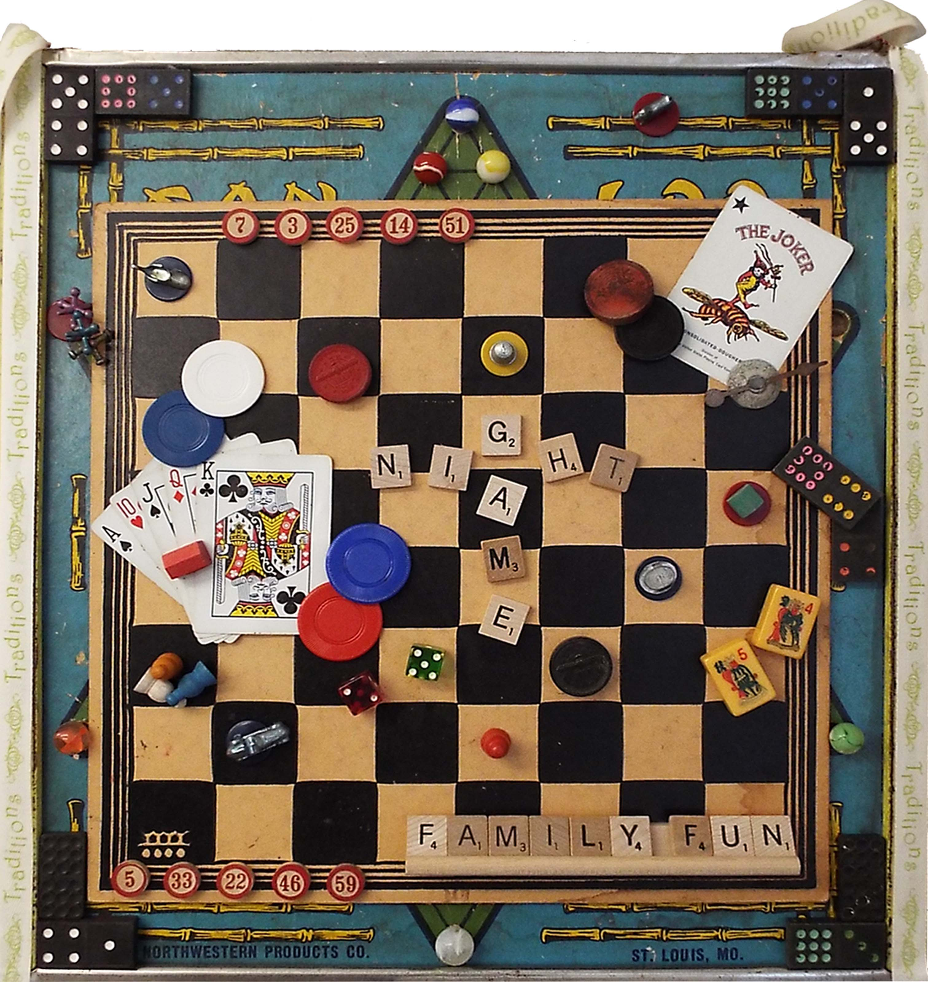 game night assemblage art by joan powell 18in x 17in 275
