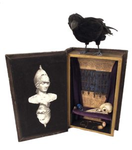 Nevermore, Mixed Assemblage by Kathleen Mullins, 10in x 10in x 2in, $125 (Dec. 2017-Jan.2018)
