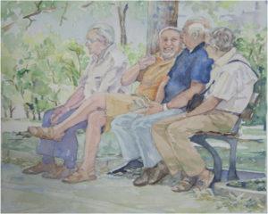 Morning Conversation, Watercolor by Sally Rhone-Kubarek, 16in x 20in, $250 (March 2018)
