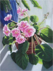 Pink Violets, Pastel by Shirley Buckler, 12in x 9in, $450 (March 2018)