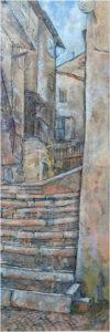 Scanno Steps, Encaustic by Sally Rhone-Kubarek, 36in x 12in, $500 (March 2018)