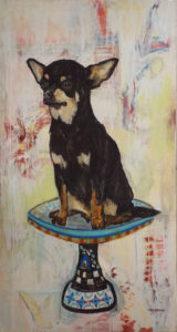 HONORABLE MENTION: Taco Belle, Mixed Media on Canvas by Cathy Herndon, 65.5in x 36in, $1000 (March 2018)