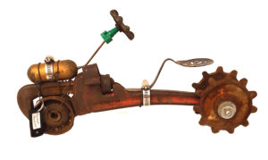 Tractor I, 3D Sculpture Assemblage by Pam Weldon, 16in x 8.5in, $333 (March 2018)