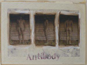 Antibody Warrior Evan#1, Altered Book by Bob Worthy, 9x12 -Framed-17x17 (February 2013)