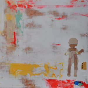 Child With Dog, Mixed Media on Board by Sarah Lapp, 10in x 10in (July 2013)