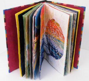 Circadian Weave, Repurposed Book by Sally Rhone-Kubarek, 9x6x1.5 (February 2013)