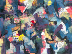 City Hustle, Mixed Media Collage by Jane Johnson, 48in x 36in (July 2013)