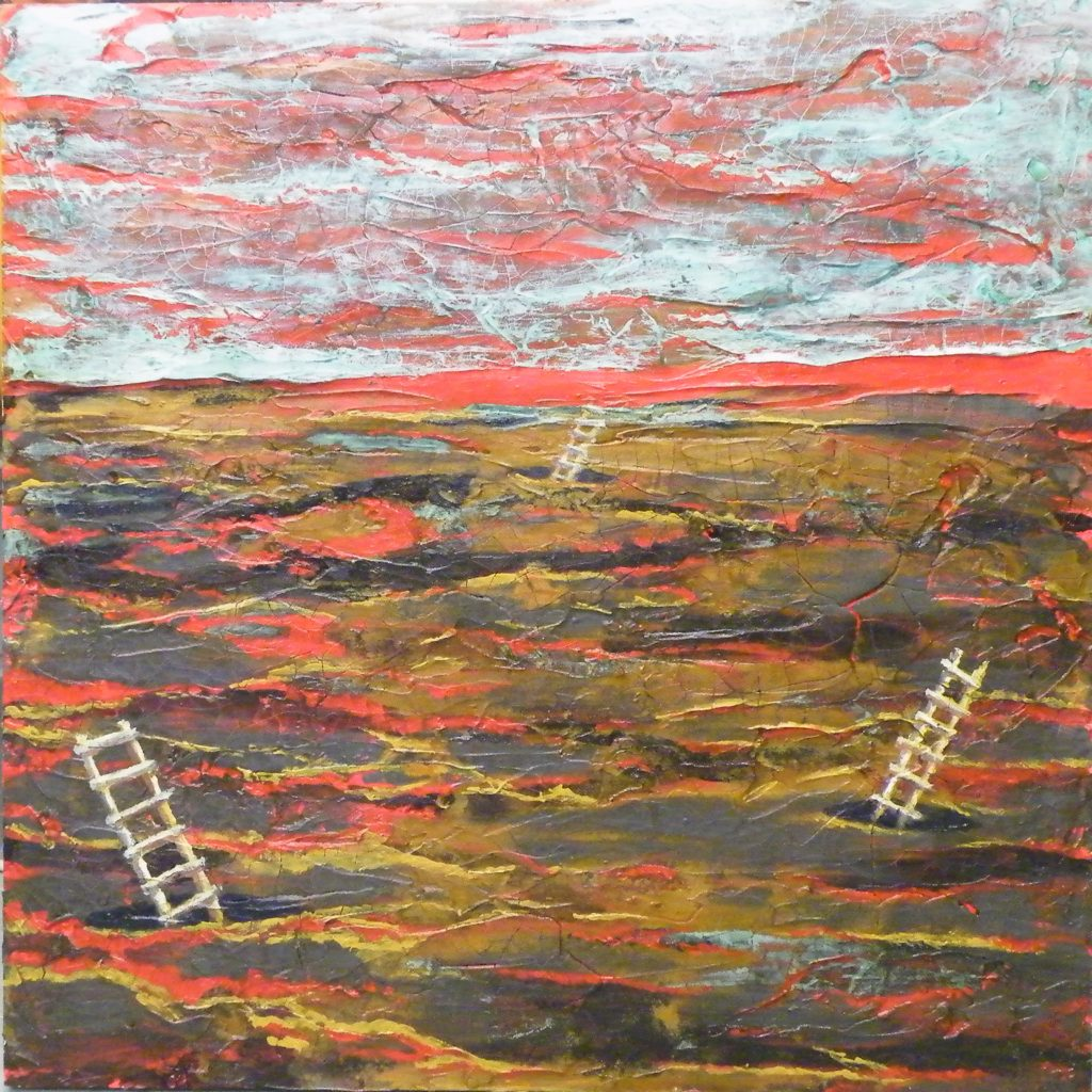 SECOND PLACE: Climate Change II, Mixed Media by Patricia Smith, 30in x 30in x 2in (July 2013)