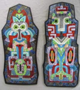 Cryptic Imagery, Enamel on Copper by Herbert Friedson, 29in x 27in x 1in (July 2013)
