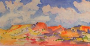 Dreamland, Watercolor by Kay L. Roscoe, 7.25in x 14.25in (July 2013)