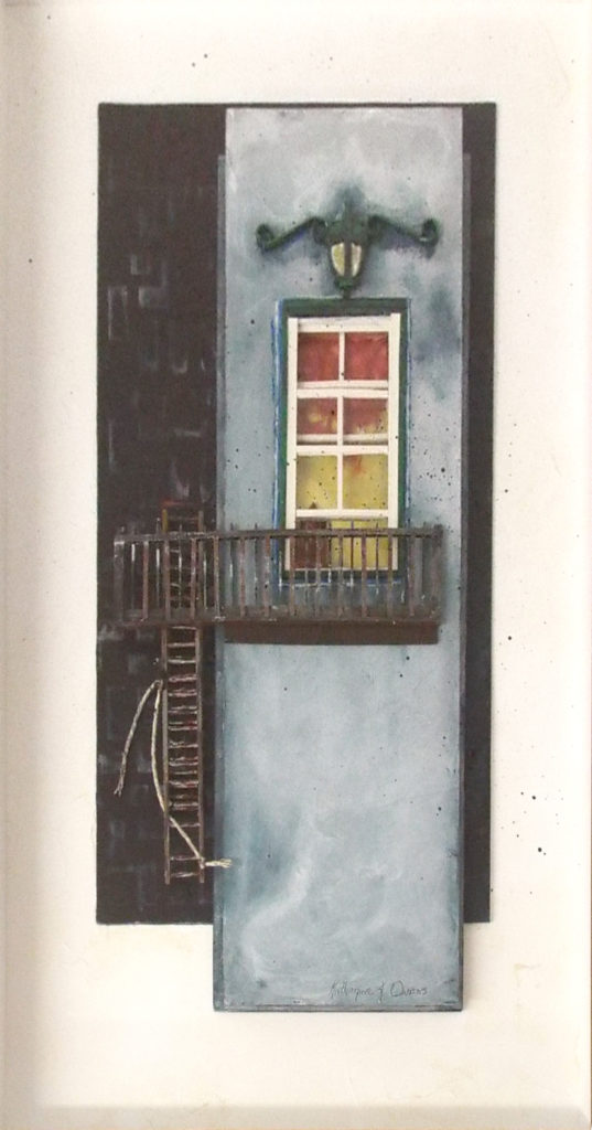 FIRST PLACE: Fire Escape. Mixed Media by Katharine K. Owens, 23in x 12in c 1.5in, $750 (April 2018)