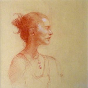 French Woman, Red Verithin by Cynthia Spotswood, 8inx8in Framed 11inx12in (March 2013)